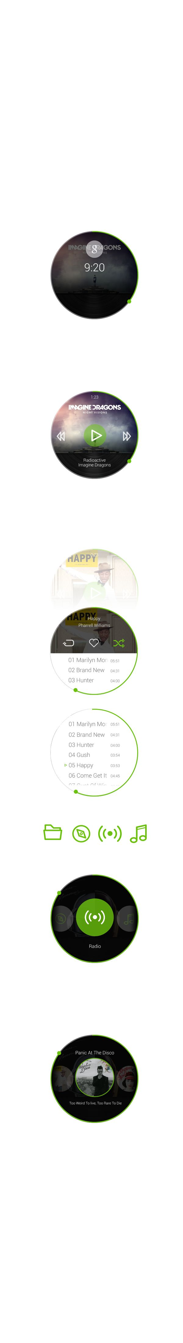 Spotify - Android Wear App by Rico Monteiro, via Behance
