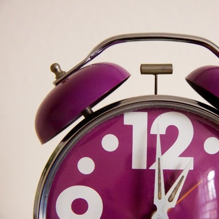 Vintage purple 60s Alarm Clock - be on time if you can be