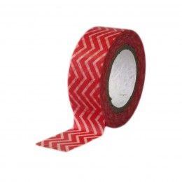 Fita Adesiva Washi Tape Chevron Vermelho