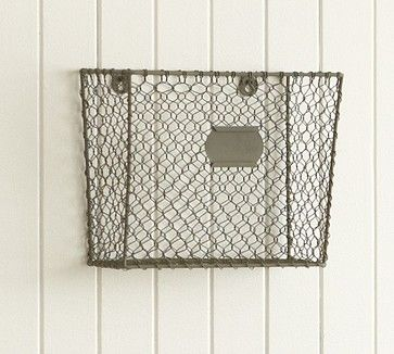 Basement bathroom... Wire Mesh Wall-Mount Magazine Rack - eclectic - desk accessories - - by Pottery Barn