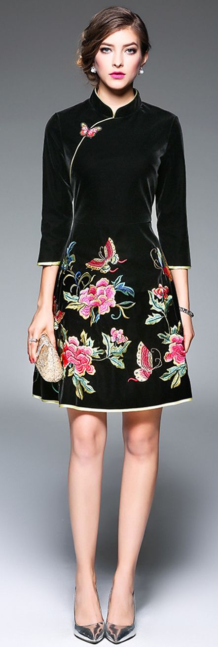 Black Mandarin Collar Embroidered Dress