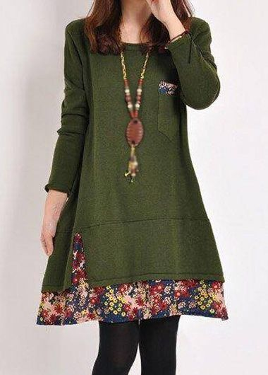 Round Neck Long Sleeve Army Green Dress | lulugal.com