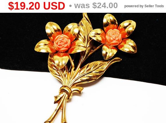 New Listings Daily - Follow Us for UpDates -  Spring Fling Sale Description & Style:  Bouquet of Flowers Brooch - Pressed Metal Leaves - Gold Tone Petals & Leaves - Coral Tone Plastic Rose Beads - 1930s 1940s Flower Br... #vintage #jewelry #teamlove #etsyretwt #thejewelseeker ➡️ http://etsy.me/2tDPYLS