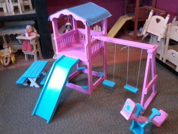 Swingset/playground For 18 Doll Like American Girl Painted By Dcwp
