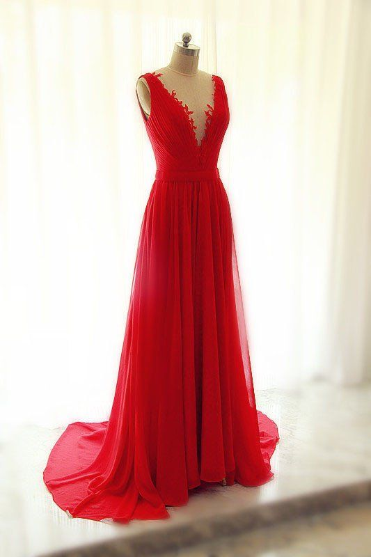 XP152 Scoop neck Long Chiffon red lace prom Dresses Appliques Women Party Dresses