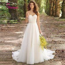 Vestido De Noiva 2017 Novo Stock Branco/Marfim de noiva Louisvuigon Chiffon Bordado Praia Vestido de Noiva A Linha 2017 Vestidos de Casamento alishoppbrasil