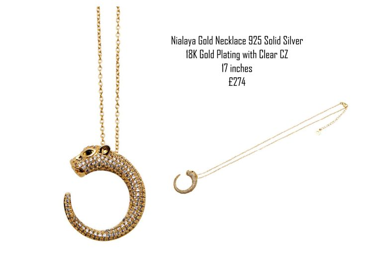 Nialaya Gold Necklace 925 Solid Silver  18K Gold Plating with Clear CZ 17 inches £274