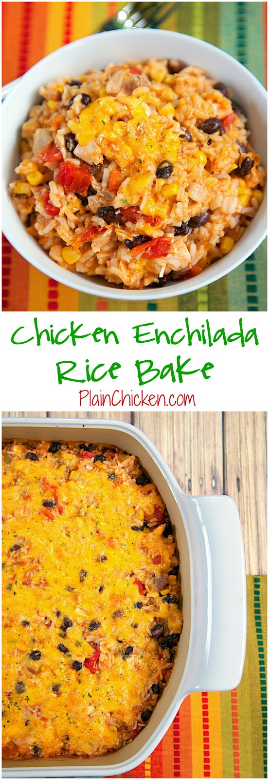 Chicken Enchilada Rice Bake Recipe - chicken, black beans, corn, Rotel tomatoes, cheese, rice and enchilada sauce! SO good! I wanted to eat the whole pan! Use rotisserie chicken and this is ready for the oven in 10 minutes. Super quick Mexican dinner recipe.