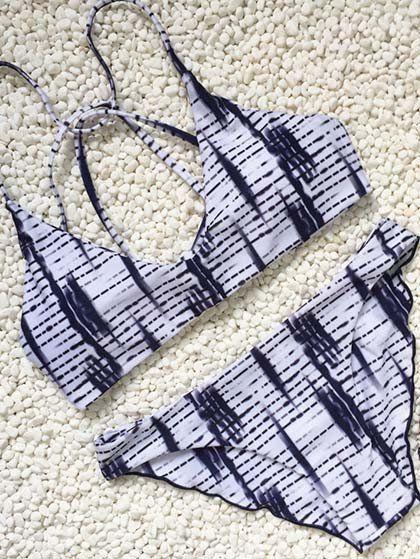 Monochrome Geometric Print Bikini Set