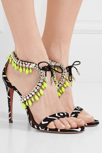 Aquazzura | Milla crystal-embellished printed suede sandals | NET-A-PORTER.COM