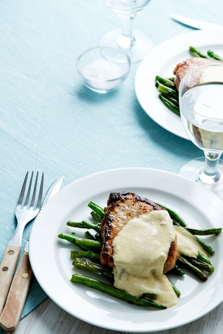 Pork Chops with Blue-Cheese Sauce FIND ALTERNATIVE WAY TO COOK CHOPS; USE GREEK YOGURT INSTEAD OF SOUR CREAM