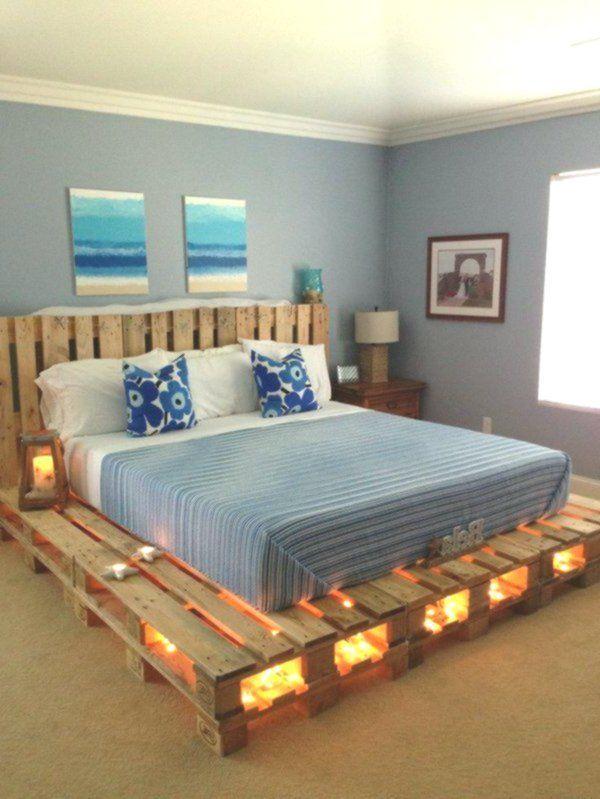 Europaletten Bett Kopfteil Unter Beleuchtung Kerzenlicht Matratze Beleuchtung Europaletten Bett Bett Aus Paletten Palettenbett