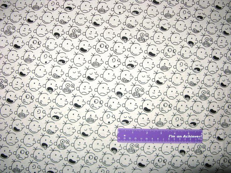 Diary Of A Wimpy Kid Novel Book Cartoon Head Gray Cotton Fabric By The Half Yard by DaMommasTextiles on Etsy