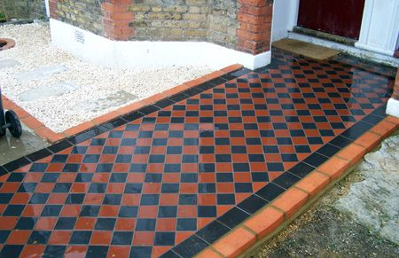 victorian red and black quarry tiles front garden - Google Search