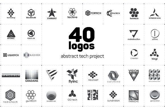 40 Tech logos by airunreal on @creativemarket