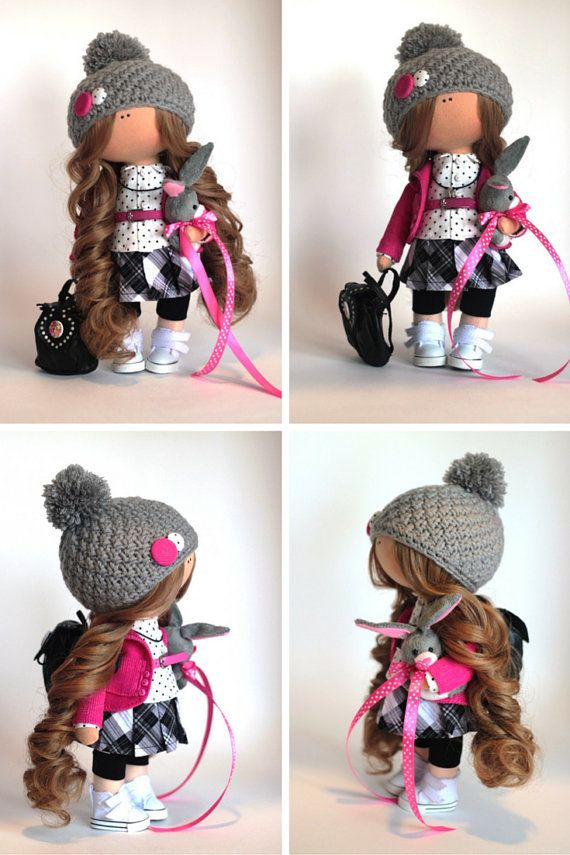 Muñeca de tela Tilda muñeca color de rosa por AnnKirillartPlace