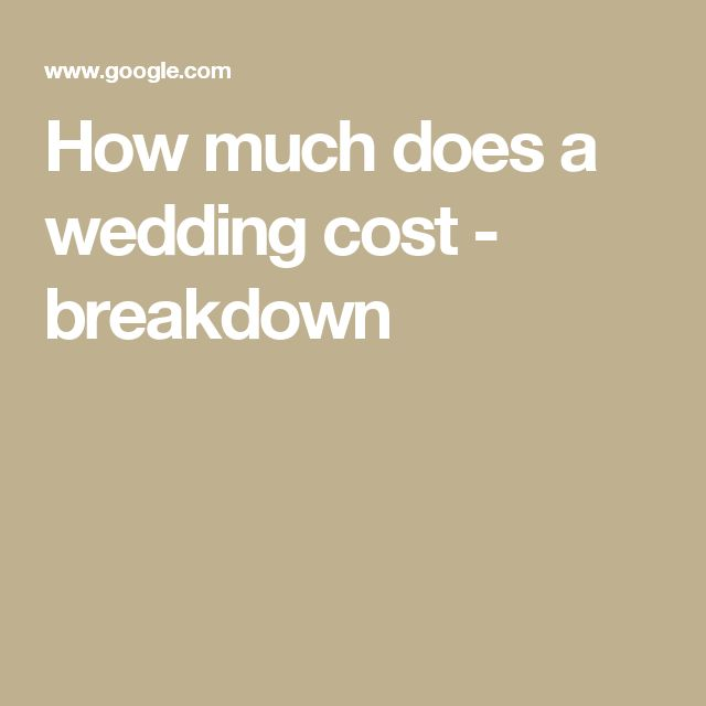 How Much Does A Wedding Cost