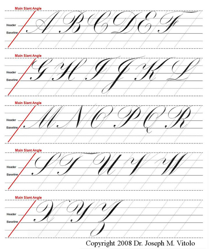 uppercase alphabet in copperplate : guidelines, practice sheet. {Dr. Joseph M. Vitolo}