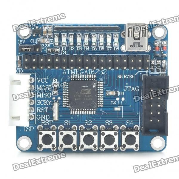JY-MCU Minimum AVR System Board (ATMEGA32). Plastic material - Main controller: ATMEGA32L-8AU - Interface: ISP(SiP6) JIAG(IDC10) - Working frequency: 16MHz - Working voltage: 3.3V/5V - Comes with installation screws pack. Tags: #Electrical #Tools #Arduino #SCM #Supplies #Boards #Shields