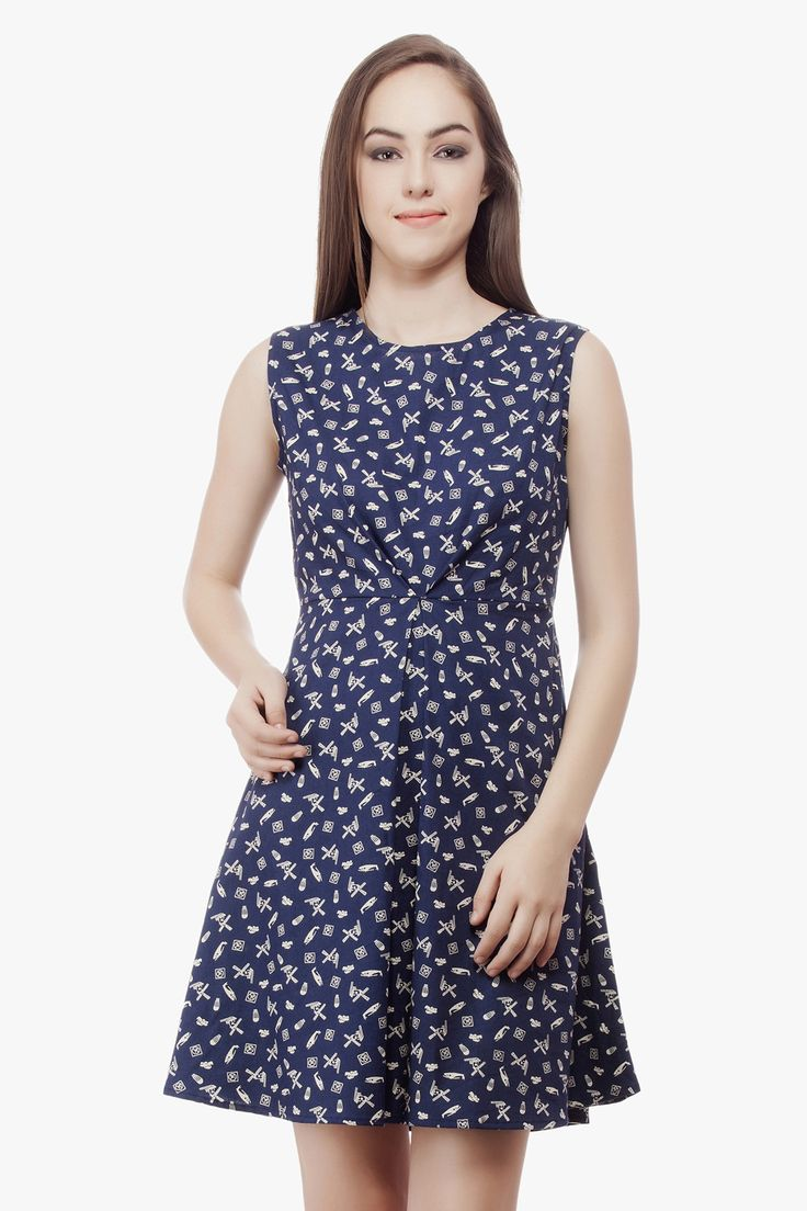 Cotton Navy Dress from Miss Queen. Shop Online only on Jabong.com