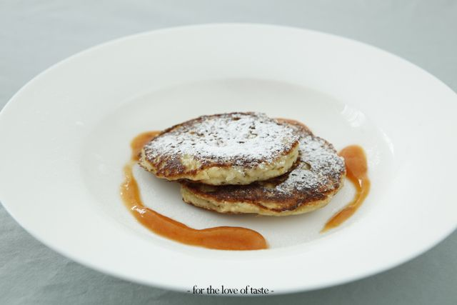 Elderflower Blinis with Nectarine sauce - gluten free