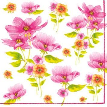 """Sumer Flowers"" - Pack of 20 paper napkins - 33x33cm - 3ply - Decoupage Floral: Amazon.co.uk: Kitchen & Home"