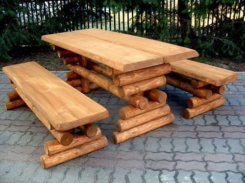 Build your own log picnic table set! Love this!...