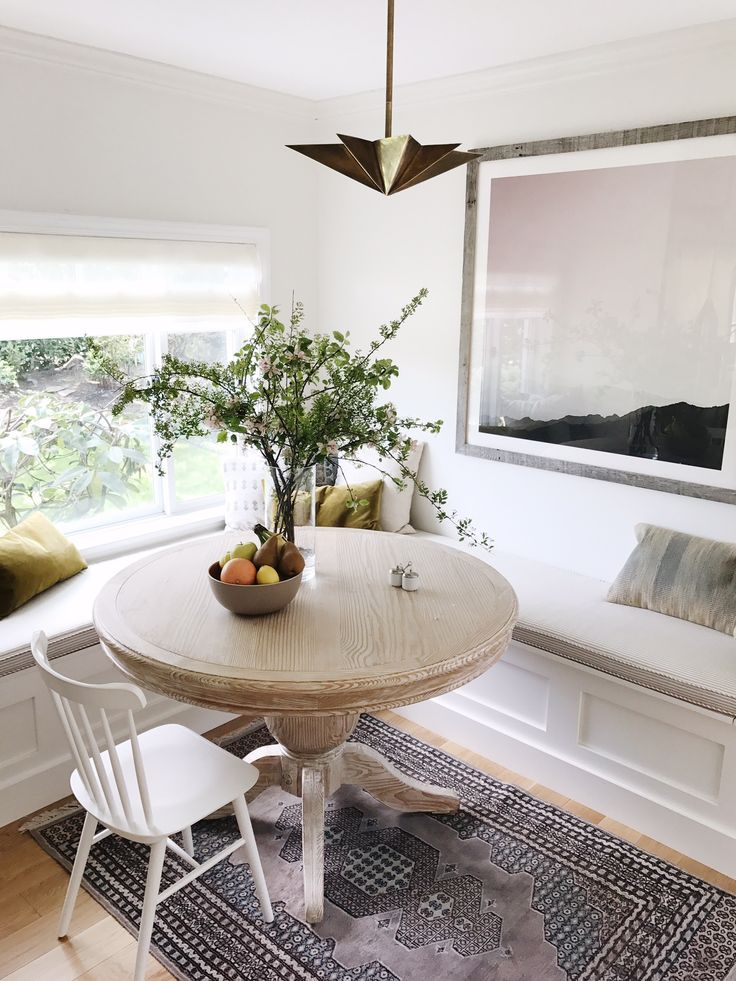 a peek at our remodeled kitchen breakfast nook!   Tucker Chair via Serena & Lily   Image via cocokelley
