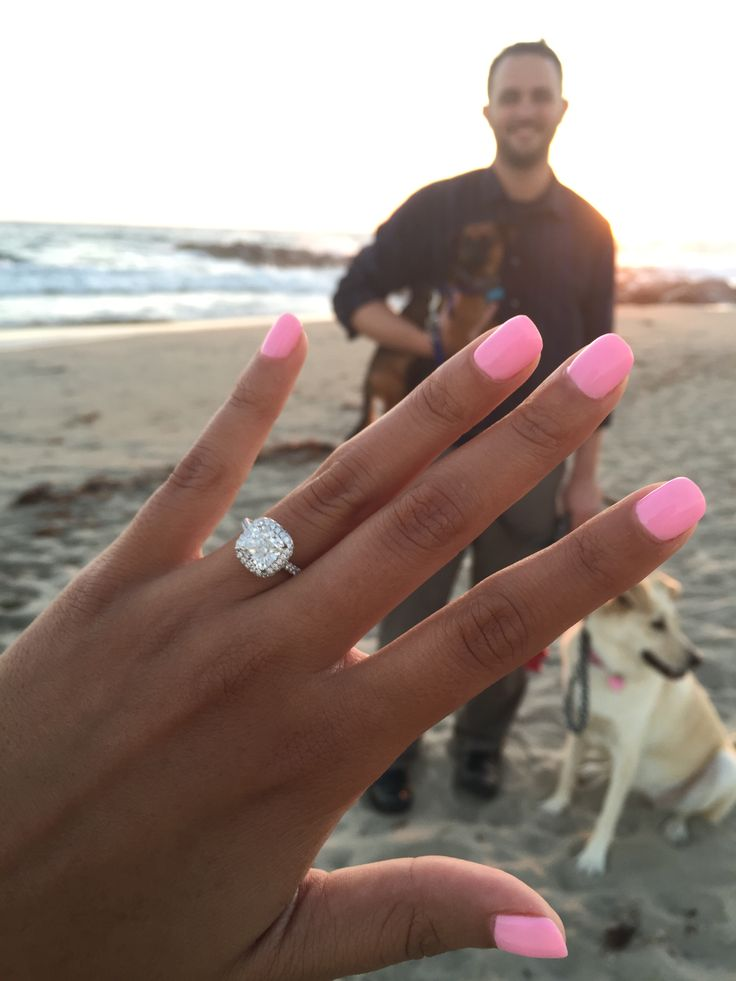 """We went out at sunset to walk our dogs before a nice dinner. Our big dog spotted a friend hiding to take pictures and ran over to him and kind of blew the surprise. Overall, it was a great night with a pretty ring, and I'm glad our 2 dogs were there to share that experience!"" Ring Style: 17085W on JamesAllen.com. Click to view this ring in 360° HD."