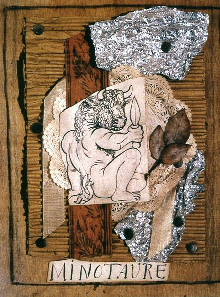 """by Pablo Picasso (Spanish 1881-1973) - Minotaur was a surrealist-inspired magazine published from 1933 to 1939 in Paris. Picasso incorporated """"Minotaur sitting with a knife"""" in a collage to be reproduced for the cover of the first issue.."""