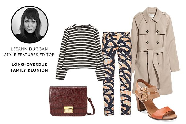 Get-Up-&-Go Outfits For A Chic Escape #refinery29  http://www.refinery29.com/clarks#slide5  Show Aunt Berta and Uncle Biff your sartorial skills and update a classic striped top with chunky heels and fun, printed pants. When paired with a tailored trench and structured bag, the outfit is modern enough to have 'em admiring how grown-up you look without provoking any wide-eyed stares.
