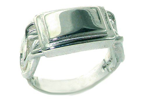 Solid 925 Sterling Silver Mans Reef Knot Signet Identity Ring - Size V 1/2 - Sizes N to Z+3 Available