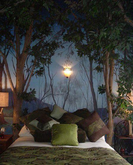 Dark woods in the bedroom
