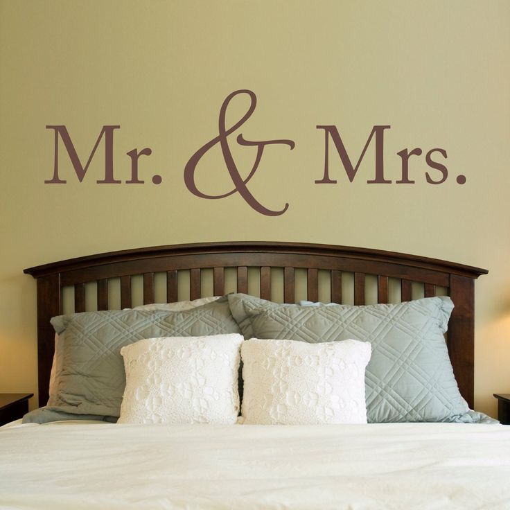 """Mr. & Mrs. Wall Decal - Married Decal - Mister and Misses Quote - Extra Large. The Mr. & Mrs. Wall Decal is available in the color of your choice. See the color chart for your options. The photographs are for a reference be sure to use the measurements when ordering.. Size - 60"""" wide by 18"""" high. ."""