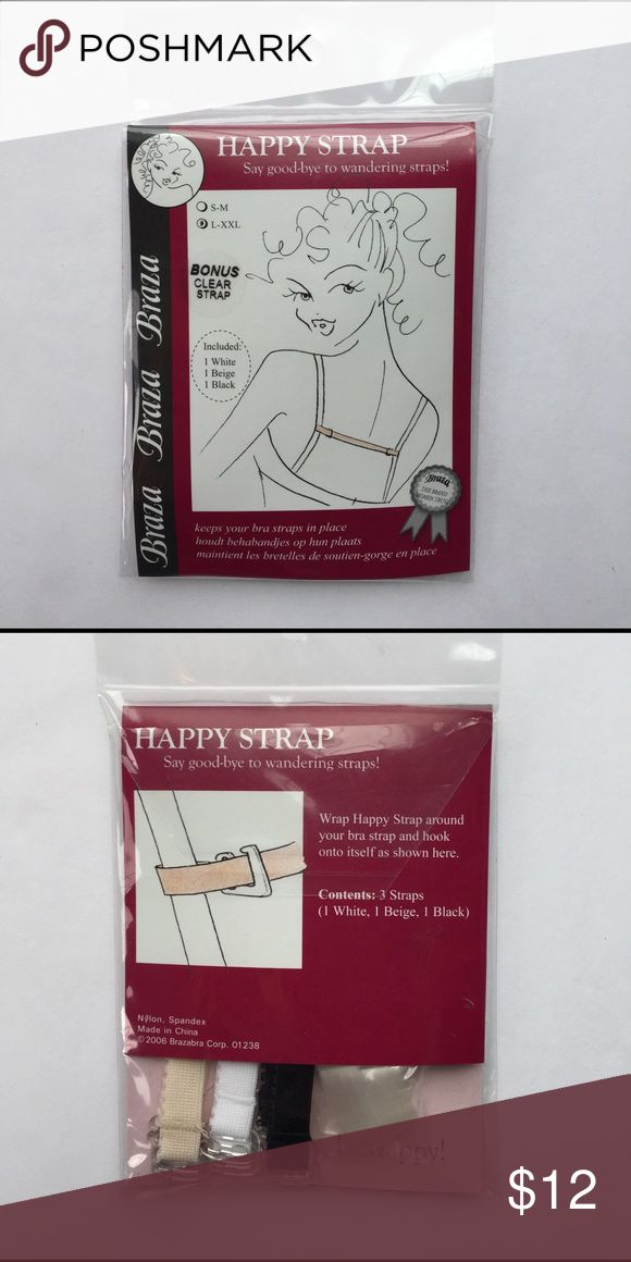 New with tags pack of 4 bra strap holders New with tags pack of 4 bra strap holders. Keep your bra straps from sliding. Contains black white nude and clear strap. Wrap strap around your bra and hook strap to itself! Easy to use and it works!!! Accessories