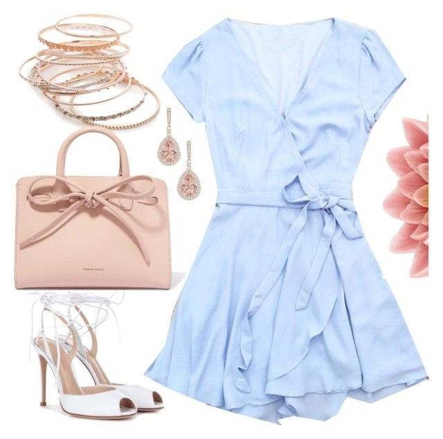 """""""Wedding Guest Dress"""" by deloom ❤ liked on Polyvore featuring Gianvito Rossi, Red Camel, Mansur Gavriel and Pink Lotus"""
