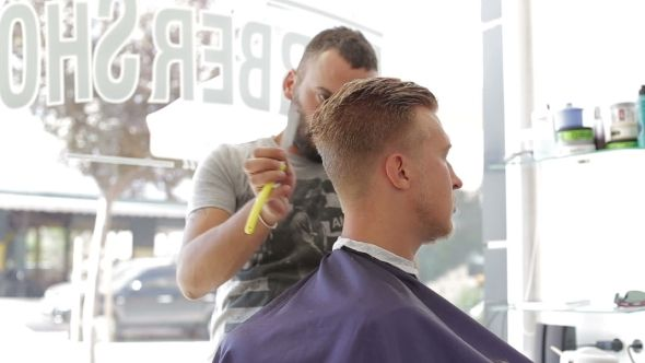 Barber Shaves Client's Hair Is Razor Sharp