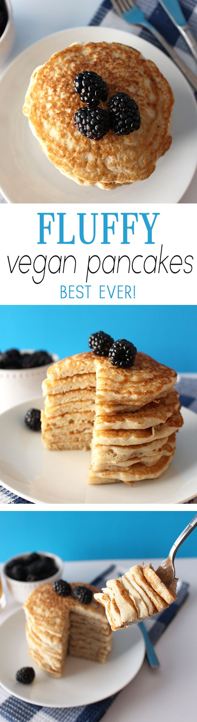 These vegan pancakes are SUPER fluffy and SUPER delicious! They are so ridiculously easy to make, you'll never need a pre-made pancake mix again!