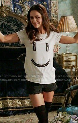 Princess Eleanor's zipped smiley face tee on The Royals.  Outfit Details: https://wornontv.net/55354/ #TheRoyals