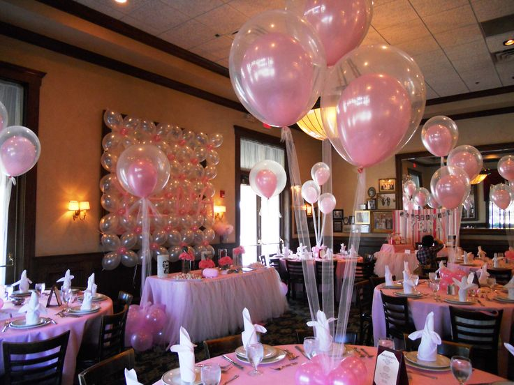 Balloon arrangements ideal for a girls christening for Balloon decoration ideas for christening