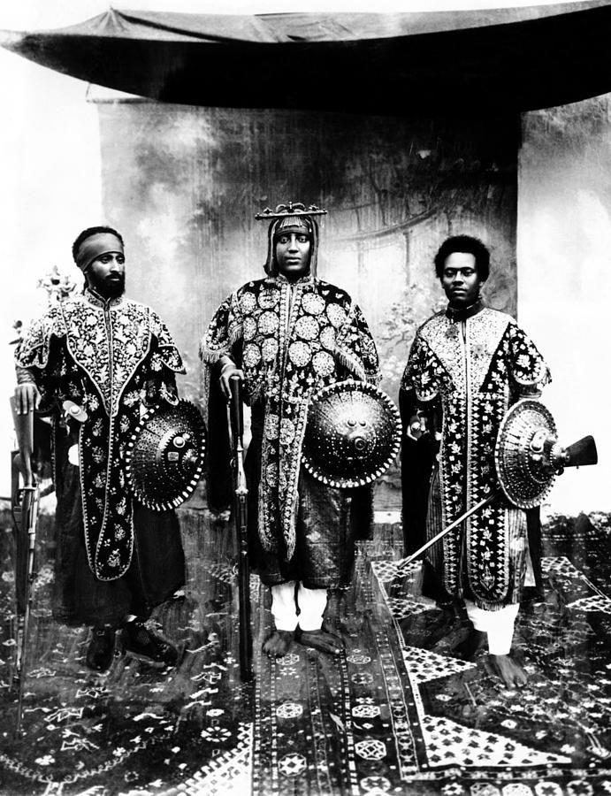 Ethiopian nobles. Dejazmatch Tafari, Lej Iyasu and ...