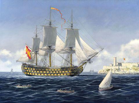"""""""Conde de Regla""""    El navío de primera clase y 112 cañones  entrando en La Habana en cuyo arsenal fue botado el 4 de noviembre de 1787, en segundo término el castillo de El Morro.-Carlos Parrilla"""