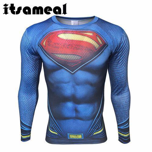 Itsameal Tops 3D Printed T-Shirt Men Fitness Clothing Raglan Funny Superman Milk Fiber Jersey Batman Cosplay Costume Long Sleeve