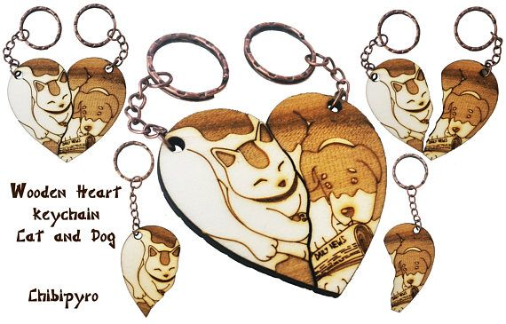 Dog and Cat couple keychain laser name     #chibipyro #artisan #craft #shop #leather #wood #woodburning #fire #fan #art #artisan #craft #handmade #etsy #shop #pyro #pyrography #burn #burning #fire #drawing #woodburner #cork #recycled #purse #comb #hairbrush #note #book #sketch #tobacco #pouch #bookmark #pochette #box #pencil #case #pendant #keychain #fox #cat #animal #kawaii