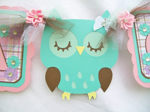 owl baby shower banner, it's a girl