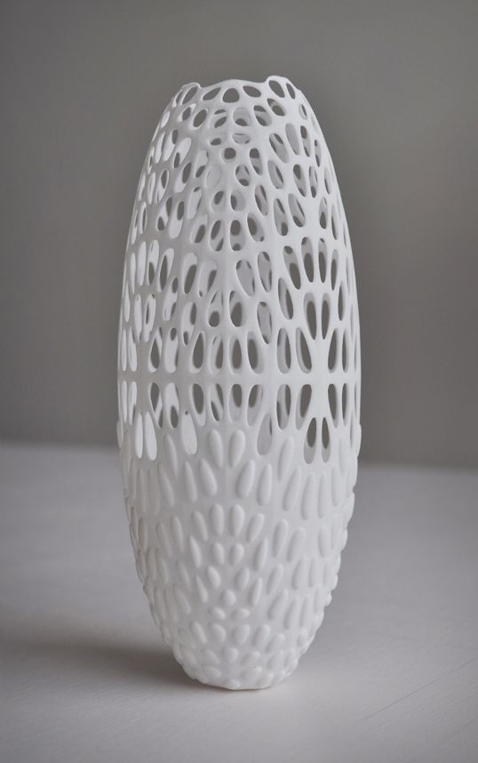 A 3D printed Lace Vase made of nylon:  3ders.org - Exploring 7 materials with 3D printing | 3D Printer News & 3D Printing News