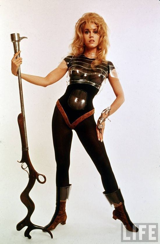 Jane Fonda looking incredible in a publicity photo from the 1968 science fiction movie Barbarella