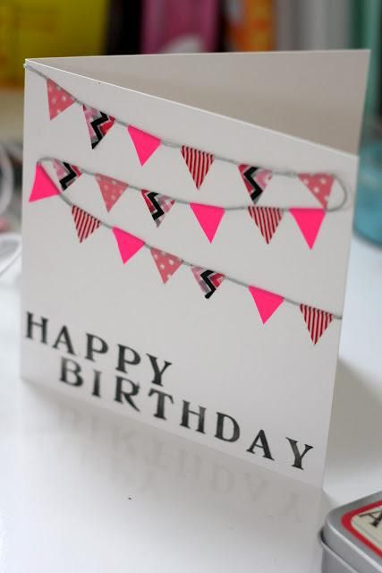 Easy Washi Tape Greeting Card - easy to make bunting card! So cute.
