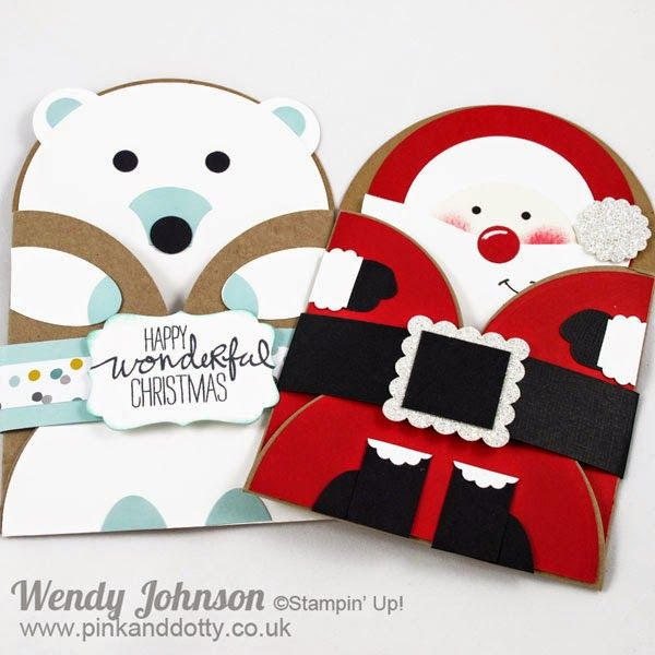 Stampin Up Christmas Gift Card Holder - Father Christmas & Polar Bear www.pinkanddotty.co.uk