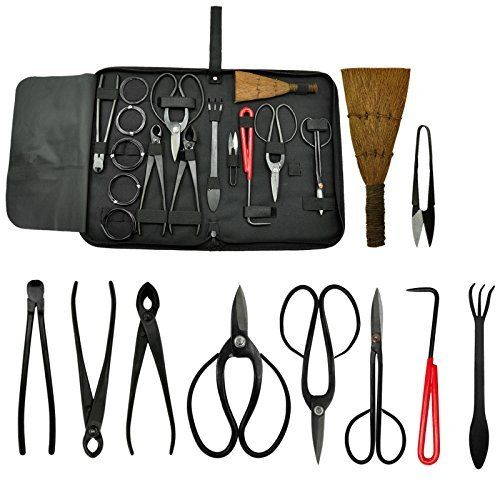 Bonsai Tool Kit 10 piece Set Carbon Steel Scissor Cutter Shear Wire Gardening Equipment Tool Case by Voilamart